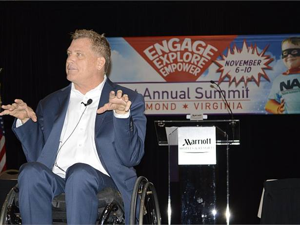 "Scott Burrows told NAPT and NASDPTS members about the car accident that left him paralyzed from the chest down and how he worked hard to regain use of his limbs. ""You can choose to be bitter, or you can choose to be better,"" he said."