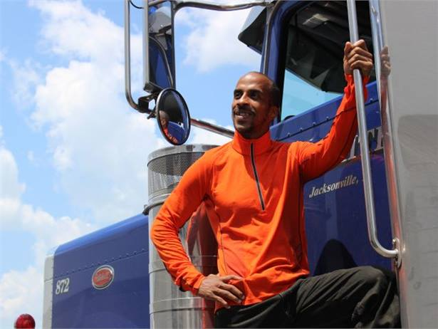 Siphiwe Baleka, a former Ivy League swimming standout, now serves as driver health and fitness coach at trucking company Prime Inc. Photos by Alicia Hughes