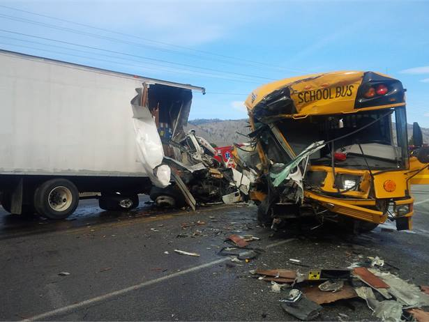 A truck apparently collided head-on with a car, then careened head-on into an Orondo (Wash.) School District bus, injuring multiple students, the bus driver and the two truck occupants. The driver of the car was killed. Photo courtesy Trooper Darren Wright, Washington State Patrol