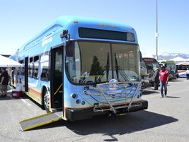 BYD showcased its 60-foot articulated bus for Calif.'s Antelope Valley Transit Authority, which...