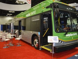 BYD showcased its 60-foot articulated bus for IndyGo for the first time.