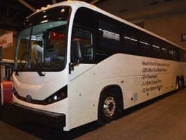 BYD showcased an all-electric commuter bus.