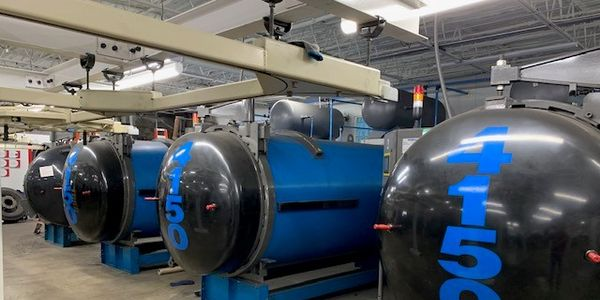 Curing chambers at the new Best One Tire Group retread plant in Toledo, Ohio. Best One holds the...