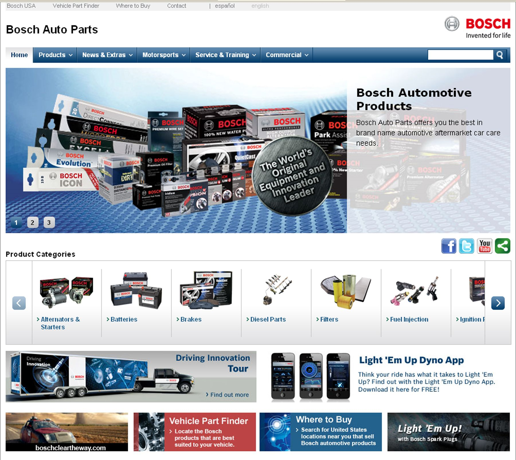 Bosch website is more visually stimulating