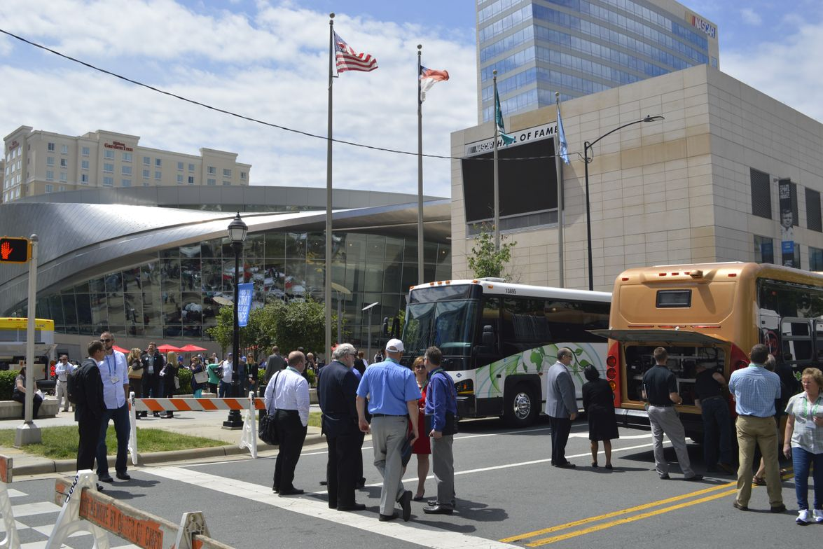 The Bus Display was held this year in front of Charlotte, N.C.'s NASCAR Hall of Fame.