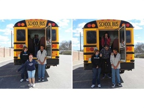 Students on Kelly Moore's route practice emergency evacuation. The Fort Dodge (Iowa) Community School District did an article that profiles Moore and describes the fulfillment and flexibility that come with driving a school bus.