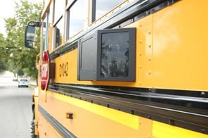 With the BusGuard system, cameras installed on the left side of the bus capture traffic across four lanes out from the bus with vehicles traveling in both directions.