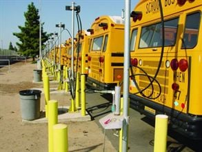 With a grant provided through the EPA, a new program from NAPT will help school districts take older diesel buses and extend their life by converting them to run on compressed natural gas, as the buses shown here do.