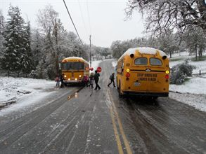 California pupil transportation operations may get more time to comply with the requirements of the Air Resources Board's Truck and Bus Regulation, which was drafted to reduce emissions generated by diesel-powered buses, like these operated by Kings Canyon Unified School District. The agency has proposed changes to the regulation's school bus provisions.