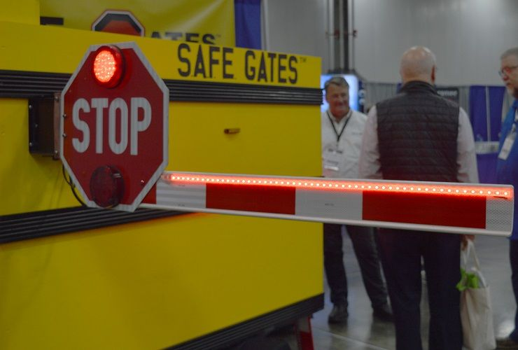 S.A.F.E. Gates demonstrated its illuminated, 48-inch retrofit stop-arm gates. The gate is...