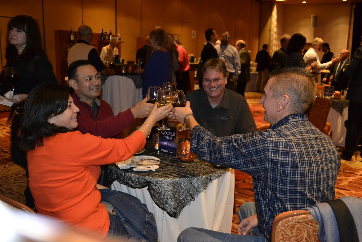 Cheers to the tire industry! Friends gather at the reception before the TIA hall of fame...