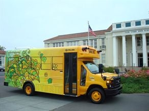 Napa Valley USD's hybrid small bus was on display at a town and country fair last August. After the fair, the floral decor wrap was removed, and district lettering was painted on. The district was the first to receive the Collins hybrid.