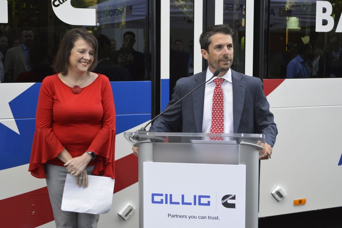 GILLIG and Cummins officials launched its new Battery Electric Bus during a press event.