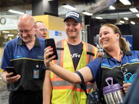 Photos: Dale Jr. Learns How to Build Tires at Goodyear