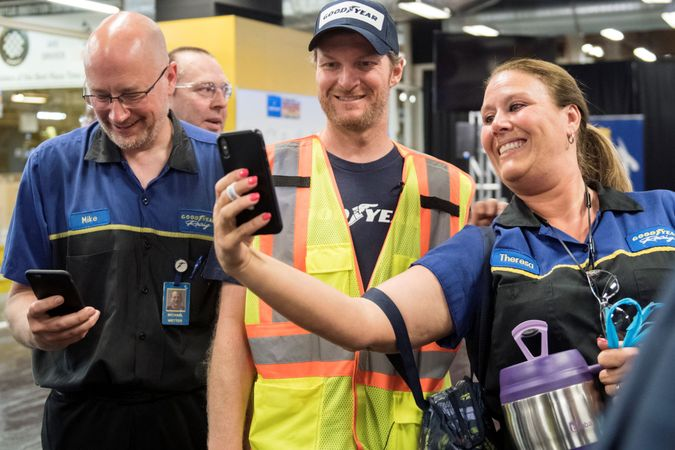 Not every day at work in a tire factory is worthy of a selfie. But the rules change when Dale...