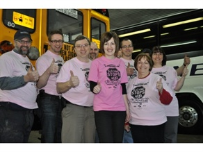 The team at Delaney Bus Lines in Avonmore, Ontario, wore pink T-shirts on Feb. 23 in support of Pink Shirt Day, an annual, nationwide anti-bullying event.