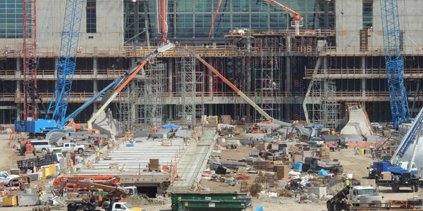 Construction of the Denver International Airport rail station. Photo courtesy Denver RTD.