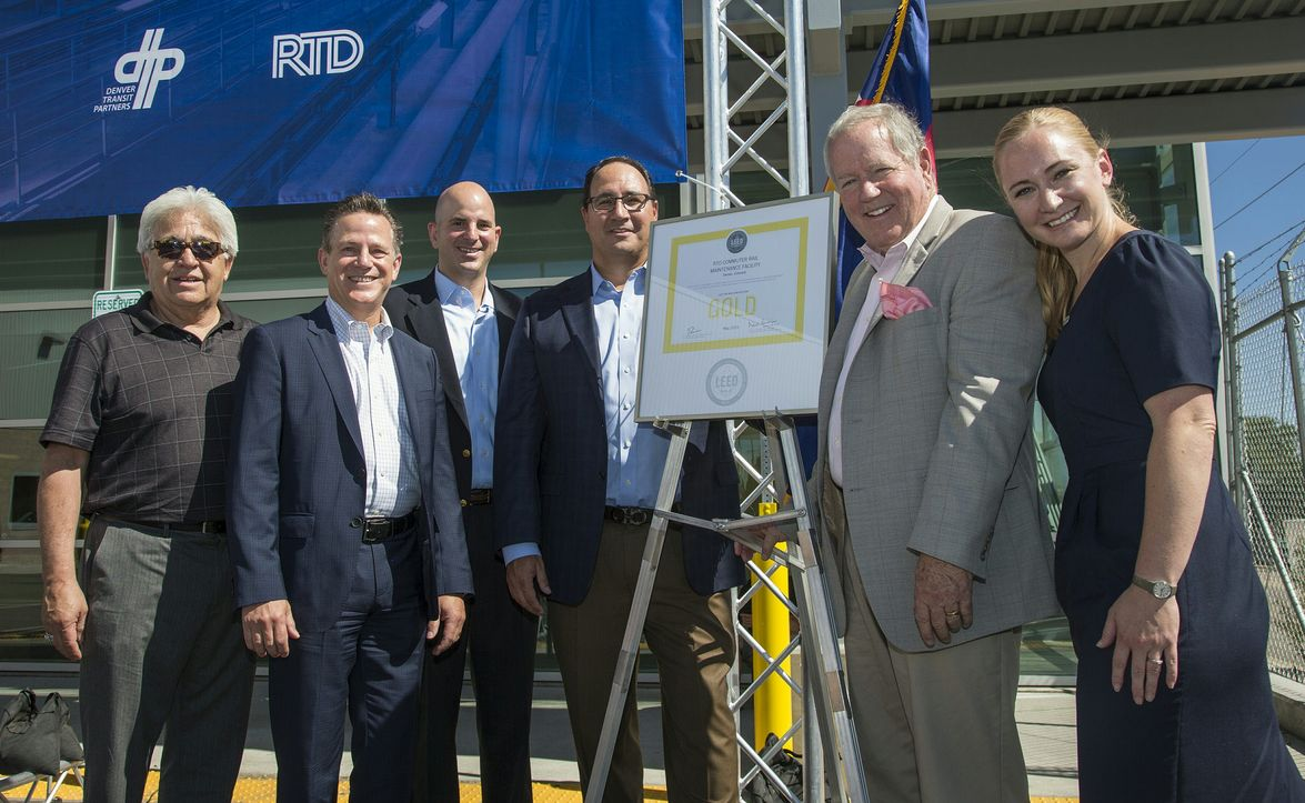 """Officials gathered July 25, 2015 for the Gold LEED certification ceremony: Bonnie """"Ernest""""..."""