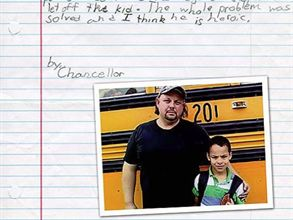 In the winning entry of Thomas Built Buses' essay contest, second-grader Chancellor describes how his school bus driver, Lester LeMasters, came up with a plan to keep him from being bullied.