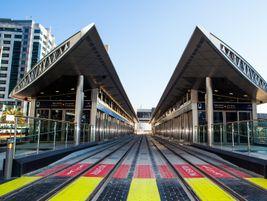 Dubai Marina station. View of the APS (ground-level power supply) System. Photo: Alstom...
