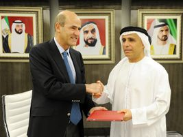 Signing of the 13-year maintenance contract for the Al Safouh tram in Dubai. Photo: Alstom...