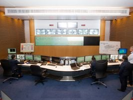 Control center of the Dubai tram system receives feeds from 750 cameras along the line. It...