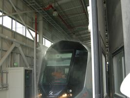 Dubai tram emerging from the wash. Photo: METRO Magazine/J.Starcic