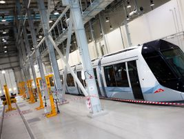Dubai tram inside the maintenance department Al Sufouh depot. Photo: Alstom Transport/L.Tissot