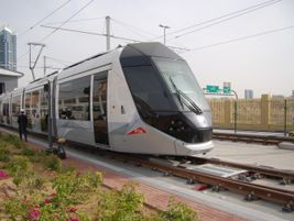 For the safety, a catenary system is utilized on the tram in the maintenance depot...