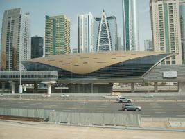 View from the tram line, which parallels the highway and the futuristic-looking Metro...