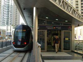 Dubai tram at the Jumeriah Beach station. Photo: METRO Magazine/J.Starcic