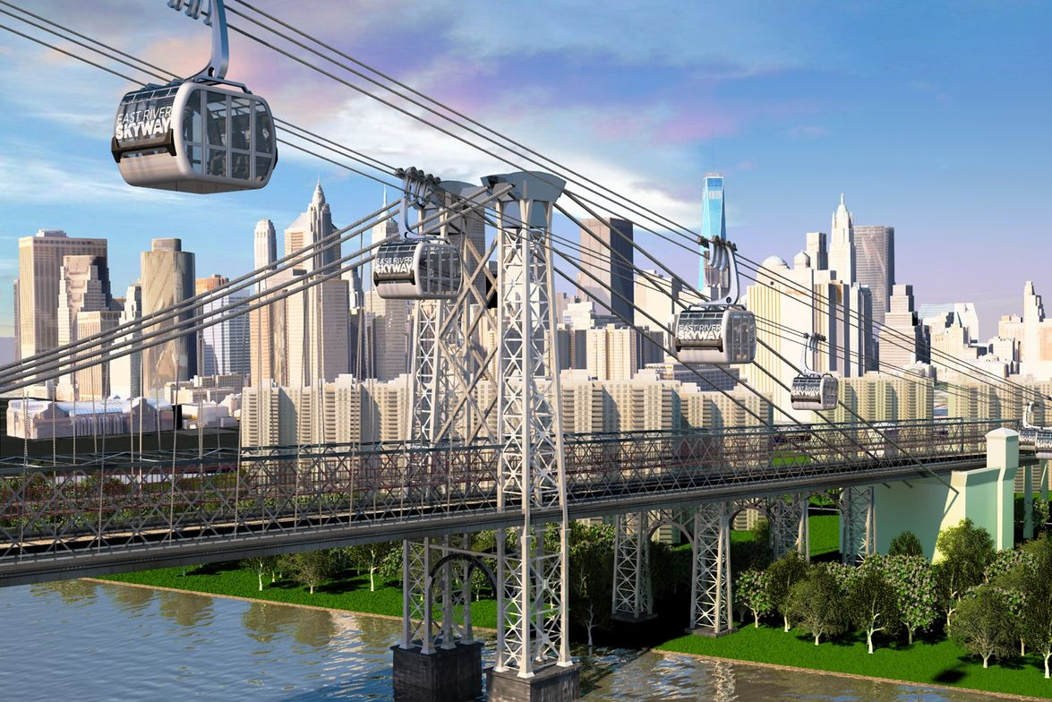The East River Skyway project is a proposed gondola system that would transport 5,000 people per...