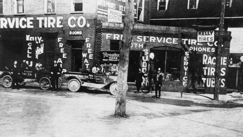 This is the earliest known photo of Free Service Tire, circa 1919.