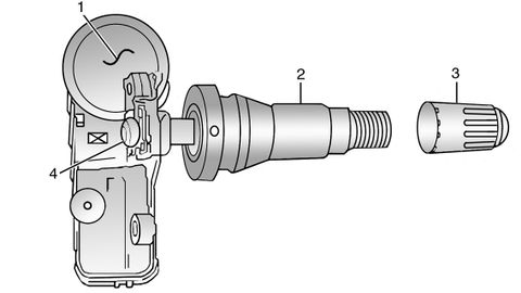 Figure 1: Identifying the tire pressure sensor components.