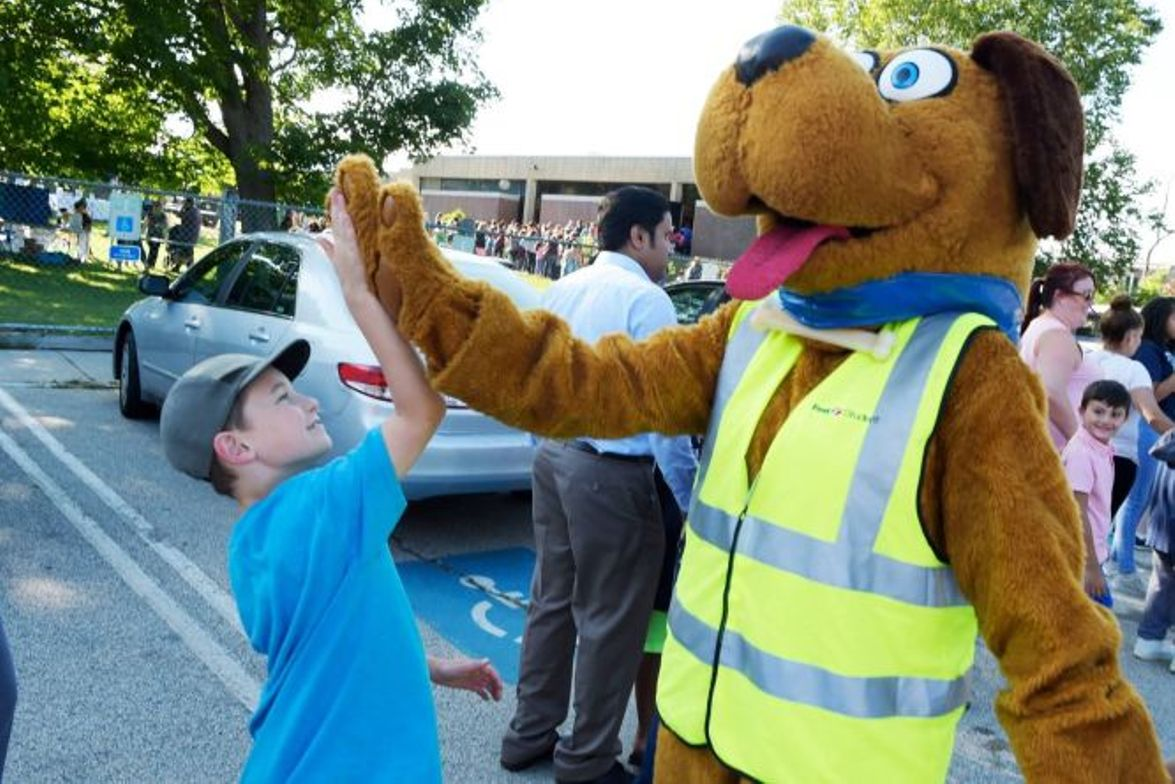 First Student's safety mascot Safety Dog wished students at Calgary (Alberta) Catholic School...