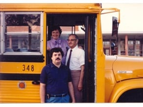 Pictured from top to bottom are Ruth, Marvin and Mark Fisher, founders of Virginia Overland Transportation. They are on the steps of a Wayne Lifeguard bus in Richmond, Va., in 1987. Mark Fisher passed away on April 30 at the age of 59.