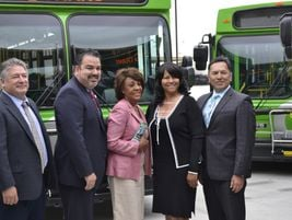 GTrans Director of Transportation Ernie Crespo, Congresswoman Maxine Waters, and Torrance...