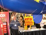 Dan DeRose, owner of Berry Tire and Auto in Libertyville, Ill., examines inflatables offered by...