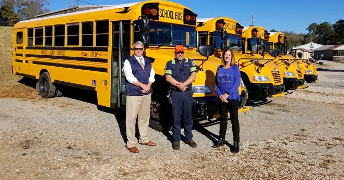 Harris County (Ga.) School District recently received and put into operation four new Blue Bird...