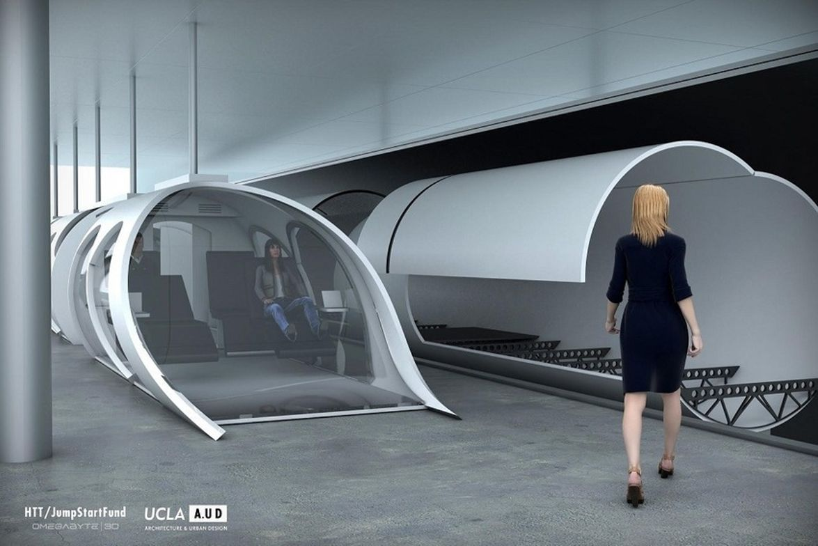What Hyperloop's capsule and outer shell will look like. Image: Hyperloop