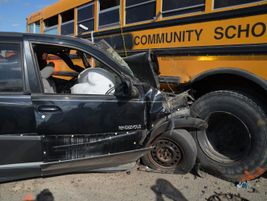 Pictured here is damage done to a car during a live demonstration of a T-bone crash with a...