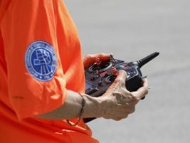 Pictured here is one of many remote control devices used to coordinate a school bus crash...