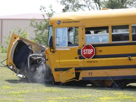 The bus comes to rest at the end of the demonstration. Photo courtesy Iowa Department of Education