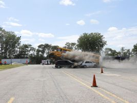 Pictured here: A school bus involved in a crash demonstration. Photo courtesy Iowa Department of...