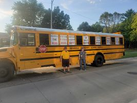 Indianola (Iowa) Community School District displayed this bus during the district's homecoming...