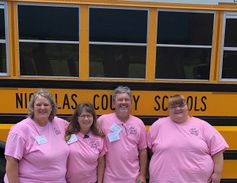 A group of special-needs transporters at Kanawha County (W.Va.) Schools posed for a photo during...