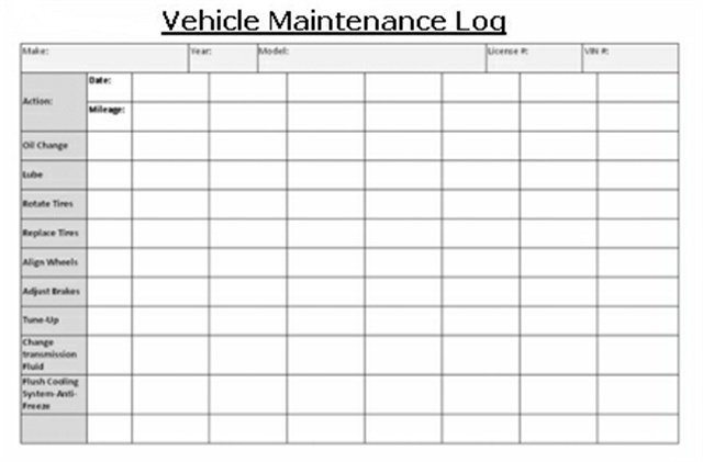 auto maintenance log - Template