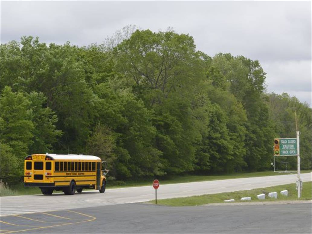 School buses make the rounds at Navistar's new proving