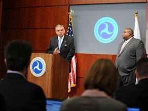 U.S. DOT chief Ray LaHood (left) issued a message on Wednesday urging parents and students to be safety conscious and consider greener alternatives for getting to and from school, such as riding the school bus, walking or biking. Pictured here at right is NHTSA Administrator David Strickland.