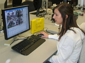 Lauren Wells, a University of Alabama senior in civil engineering, reviews data from the videos of seat belt usage.